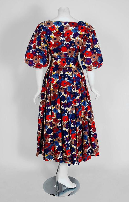 1976 Yves Saint Laurent Floral-Print Cotton Peasant Blouse & Belted Skirt Set In Excellent Condition For Sale In Beverly Hills, CA