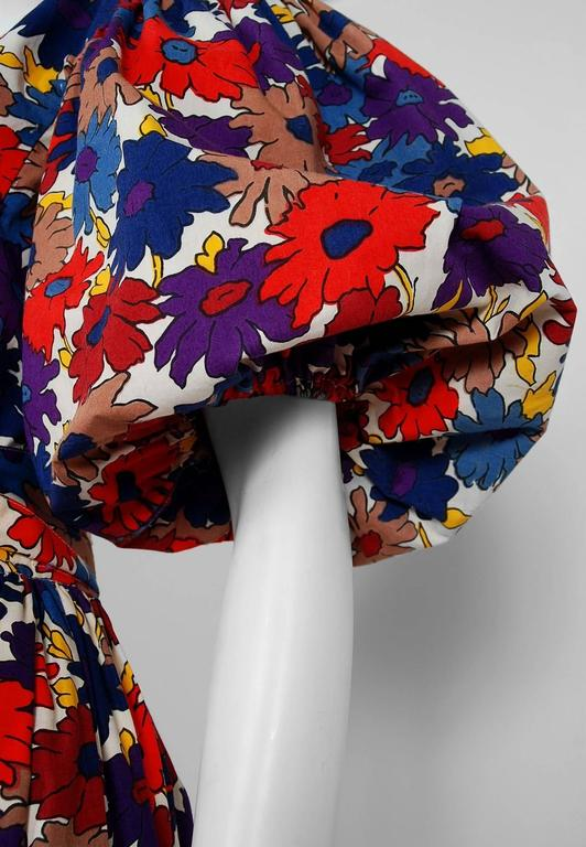 1970's Yves Saint Laurent Floral-Print Cotton Peasant Blouse & Belted Skirt Set 3