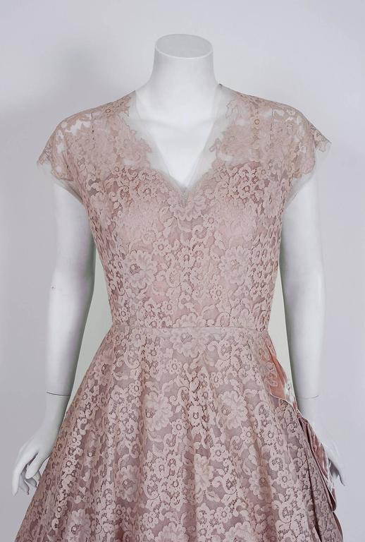 1950's Pierre Balmain Mauve-Pink Lace Tulle Illusion Side-Bow Full Party Dress 2