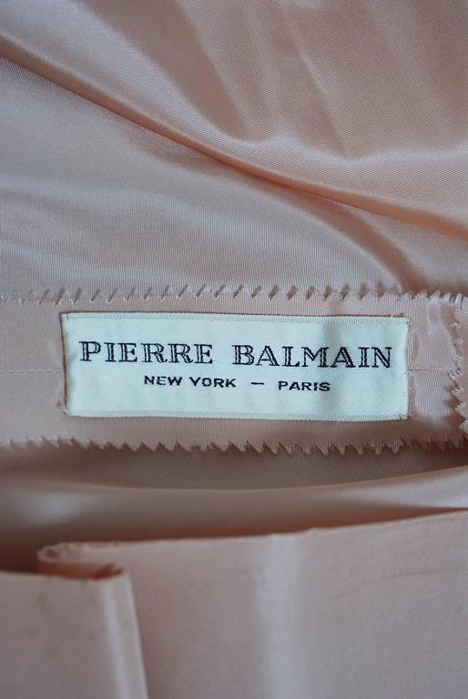 1950's Pierre Balmain Mauve-Pink Lace Tulle Illusion Side-Bow Full Party Dress For Sale 1