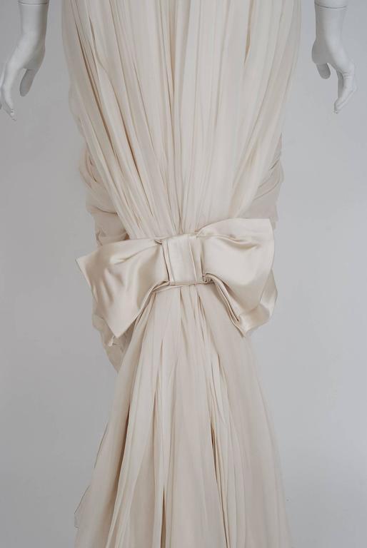 1950's Jean Desses Ivory-White Draped Silk Chiffon Back-Fishtail Goddess Dress 5