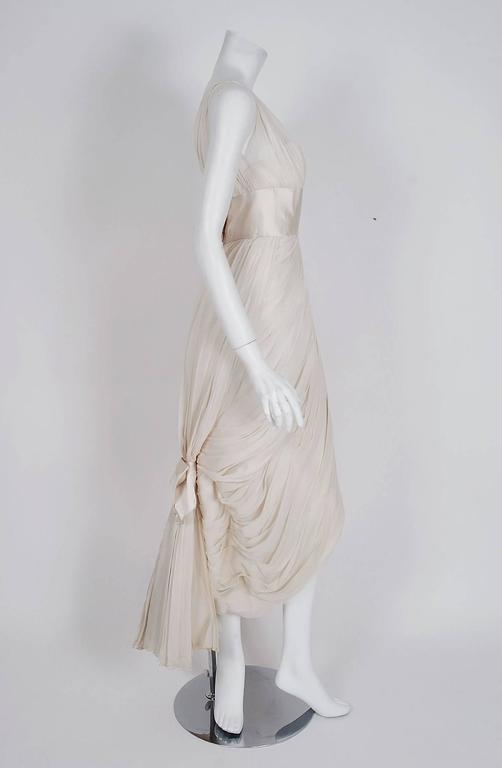 1950's Jean Desses Ivory-White Draped Silk Chiffon Back-Fishtail Goddess Dress 3