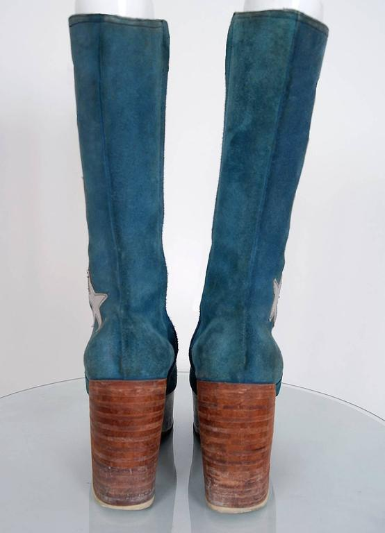 1970's Turquoise-Blue Suede & Silver Leather Novelty Glam-Rock Platform Boots 4