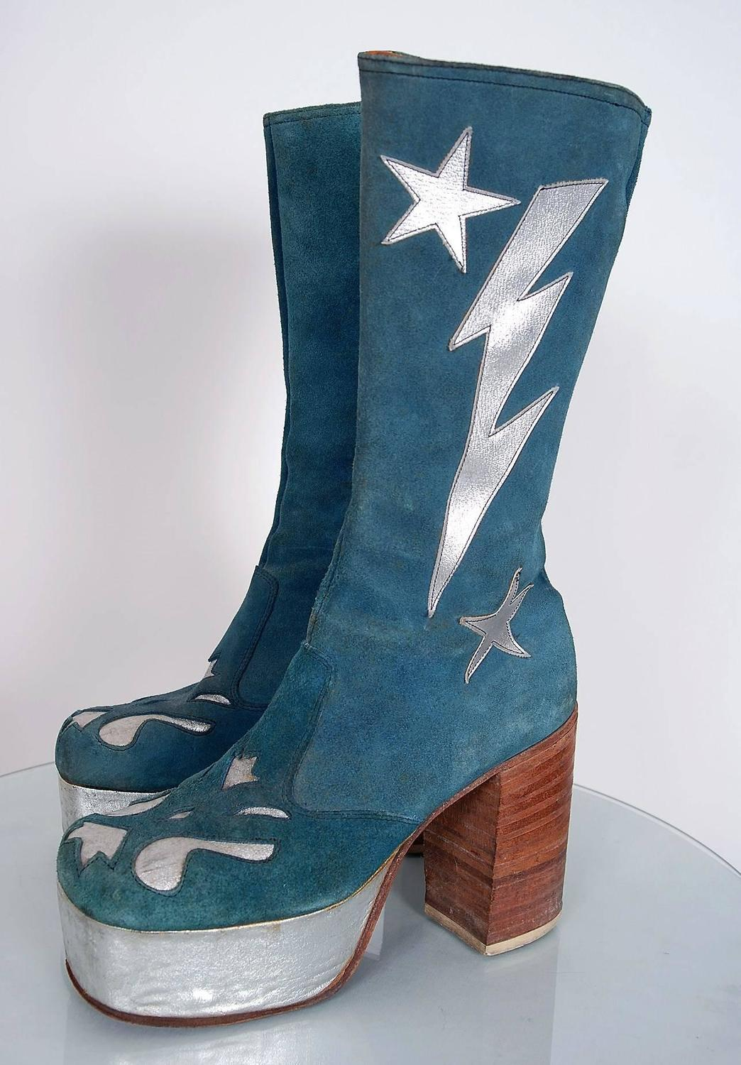 1970 S Turquoise Blue Suede And Silver Leather Novelty
