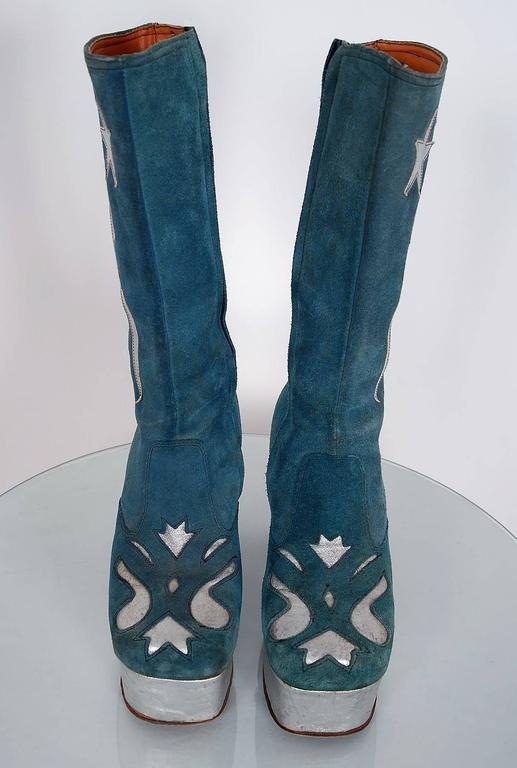 1970's Turquoise-Blue Suede & Silver Leather Novelty Glam-Rock Platform Boots 2