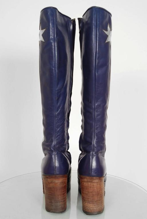 1970's Purple & Silver Leather Novelty Stars Knee-High Platform Glam-Rock Boots 5