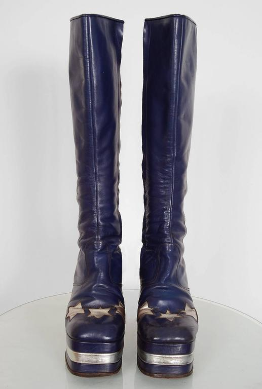 1970's Purple & Silver Leather Novelty Stars Knee-High Platform Glam-Rock Boots 3