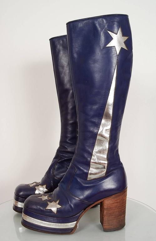 1970's Purple & Silver Leather Novelty Stars Knee-High Platform Glam-Rock Boots 2