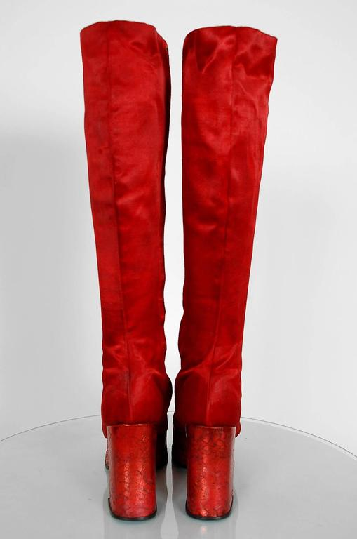 1970's Ruby-Red Satin & Silver Snakeskin Glam-Rock Platform Knee-High Boots  5