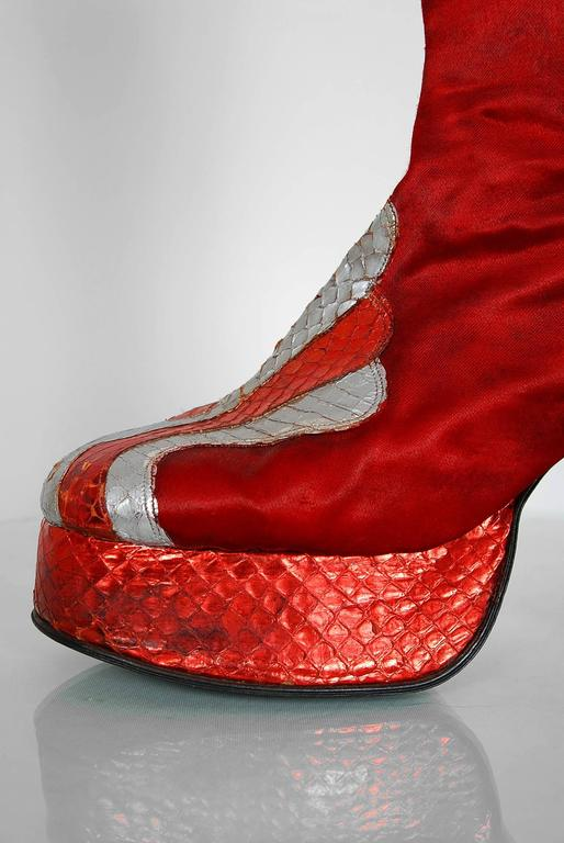 1970's Ruby-Red Satin & Silver Snakeskin Glam-Rock Platform Knee-High Boots  4