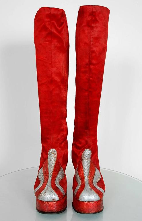 1970's Ruby-Red Satin & Silver Snakeskin Glam-Rock Platform Knee-High Boots  2