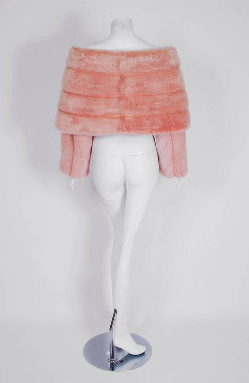 1990's Arnold Scaasi Couture Pink Mink-Fur & Silk Bows Cropped Bolero Jacket For Sale 1