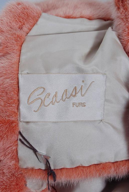 1990's Arnold Scaasi Couture Pink Mink-Fur & Silk Bows Cropped Bolero Jacket For Sale 2
