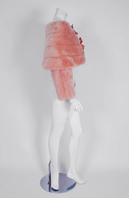 Women's 1990's Arnold Scaasi Couture Pink Mink-Fur & Silk Bows Cropped Bolero Jacket For Sale