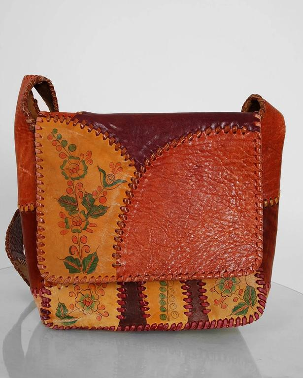 1970's Char Handpainted Whipstitched Leather Bohemian Hippie Shoulder Bag Purse 2