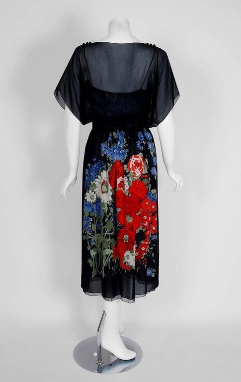 Black 1970's Pauline Trigere Floral Garden Print Silk-Chiffon Batwing Goddess Dress For Sale