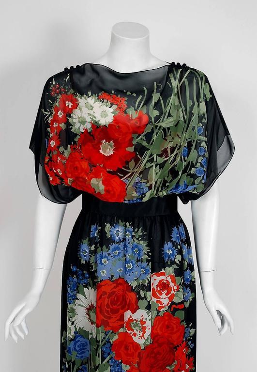 1970's Pauline Trigere Floral Garden Print Silk-Chiffon Batwing Goddess Dress 2