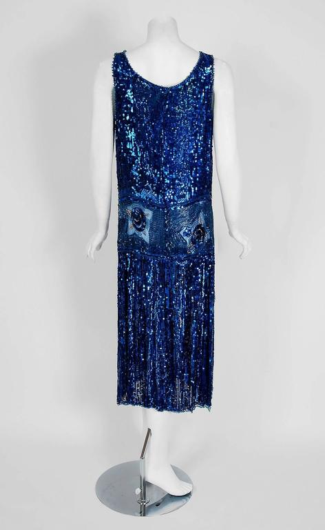 1920's French Sapphire-Blue Sequin Beaded Floral Motif Art-Deco Flapper Dress  6