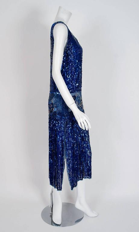 1920's French Sapphire-Blue Sequin Beaded Floral Motif Art-Deco Flapper Dress  2