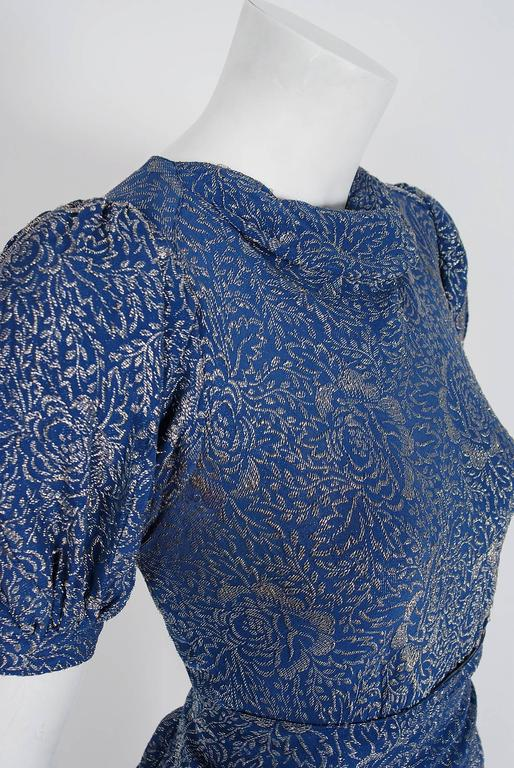 Purple 1930's Metallic Blue-Roses Floral Lame Belted Puff Sleeve Bias-Cut Evening Gown For Sale