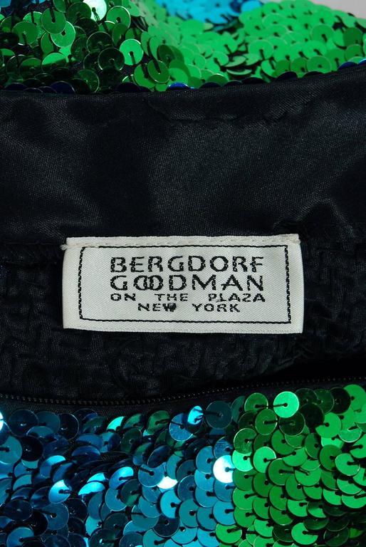 1990's Bergdorf Goodman Blue Green Ombre Sequin Bodycon Hourglass Mini Dress 5