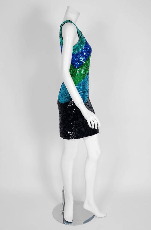 1990's Bergdorf Goodman Blue Green Ombre Sequin Bodycon Hourglass Mini Dress 3