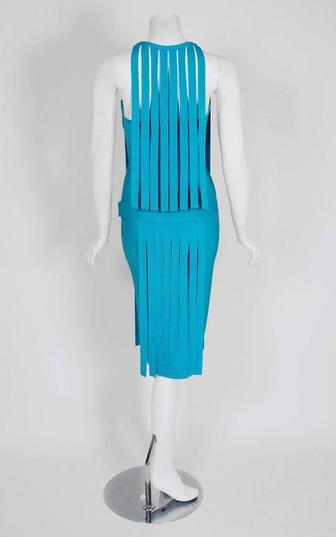 Women's 1990's Herve Leger Runway Turquoise Blue Knit Birdcage Cut-Out Bodycon Dress For Sale