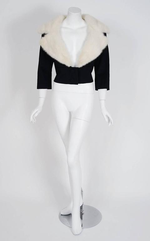 1955 Jean Patou Haute-Couture White Mink Fur & Black Wool Cropped Bolero Jacket 2