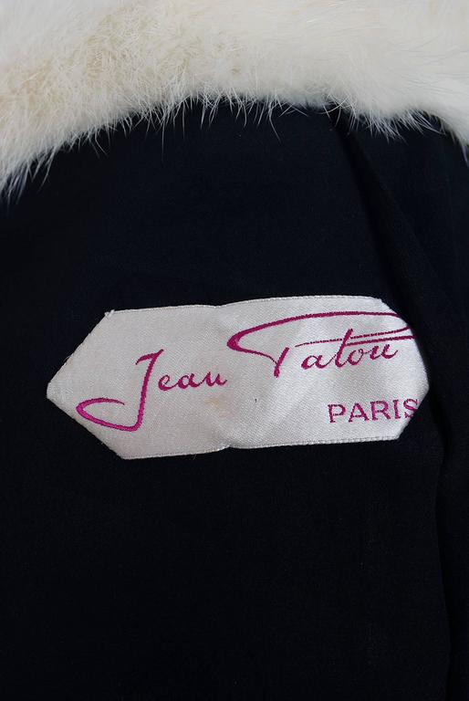 1955 Jean Patou Haute-Couture White Mink Fur & Black Wool Cropped Bolero Jacket 6