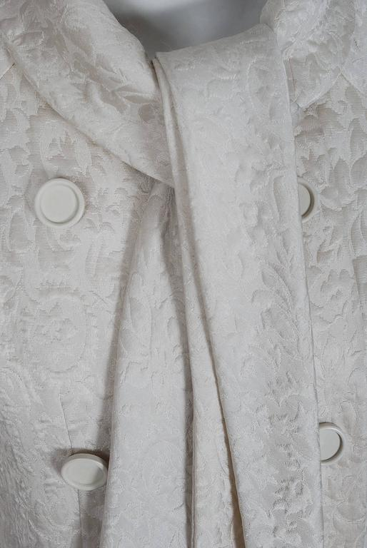 1960's Jean Patou Ivory-White Silk Double Breasted Scarf-Neck Mod Jacket Coat  3