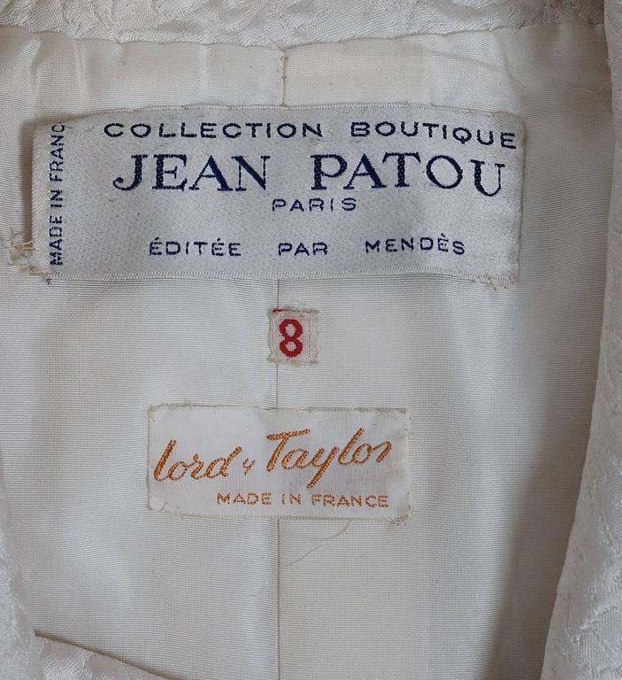 1960's Jean Patou Ivory-White Silk Double Breasted Scarf-Neck Mod Jacket Coat  6