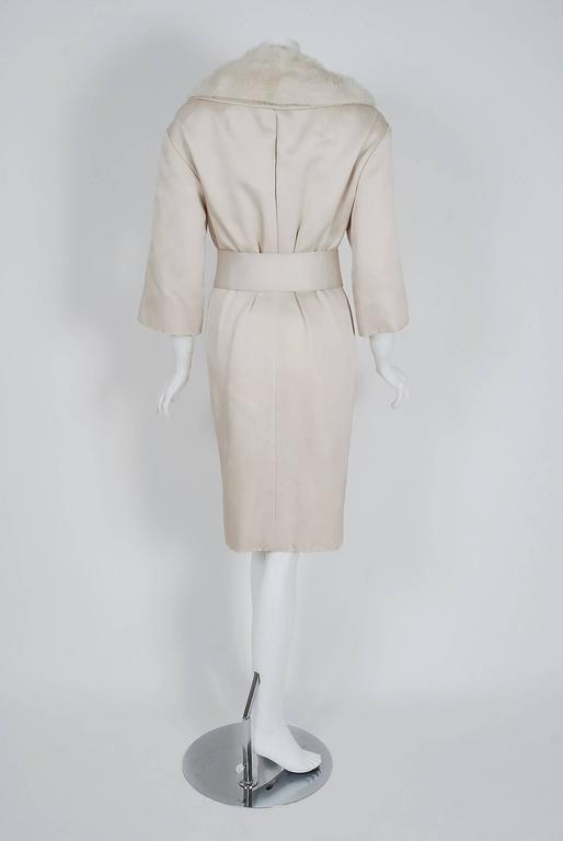 1959 Yves Saint Laurent for Christian Dior Haute Couture Ivory Silk Mink Coat For Sale 1