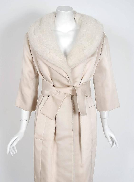 Beige 1959 Yves Saint Laurent for Christian Dior Haute Couture Ivory Silk Mink Coat For Sale