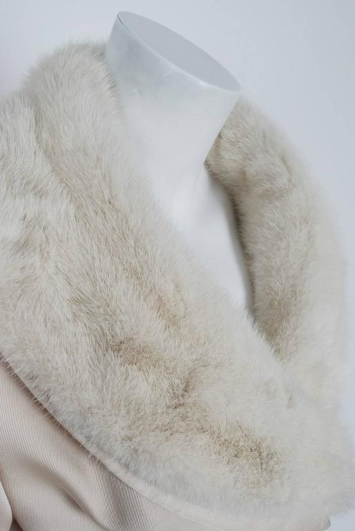 1959 Yves Saint Laurent for Christian Dior Haute Couture Ivory Silk Mink Coat In Good Condition For Sale In Beverly Hills, CA