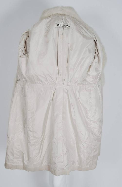 1959 Yves Saint Laurent for Christian Dior Haute Couture Ivory Silk Mink Coat For Sale 2
