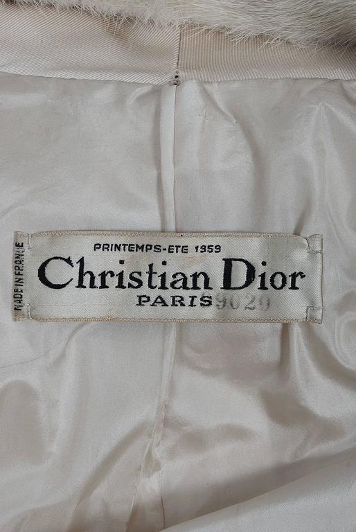 1959 Yves Saint Laurent for Christian Dior Haute Couture Ivory Silk Mink Coat For Sale 3