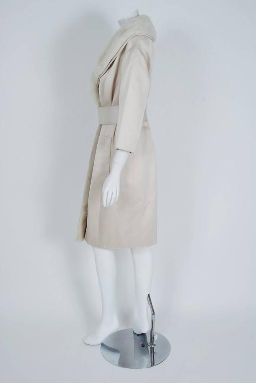 Women's 1959 Yves Saint Laurent for Christian Dior Haute Couture Ivory Silk Mink Coat For Sale