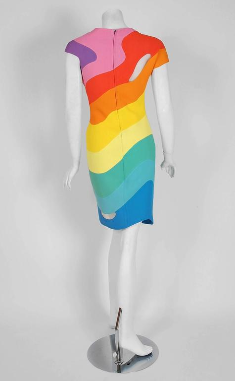 1990 Thierry Mugler Couture Documented Rainbow Bodycon Cut-Out Hourglass Dress For Sale 2