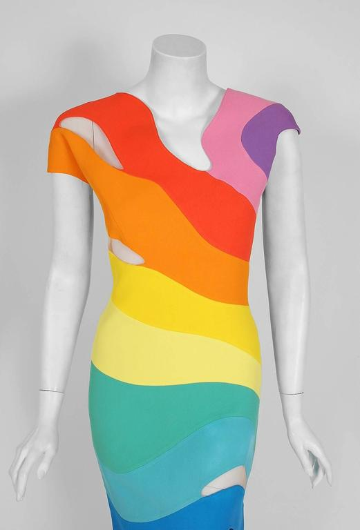 1990 Thierry Mugler Couture Documented Rainbow Bodycon Cut-Out Hourglass Dress In Excellent Condition For Sale In Beverly Hills, CA