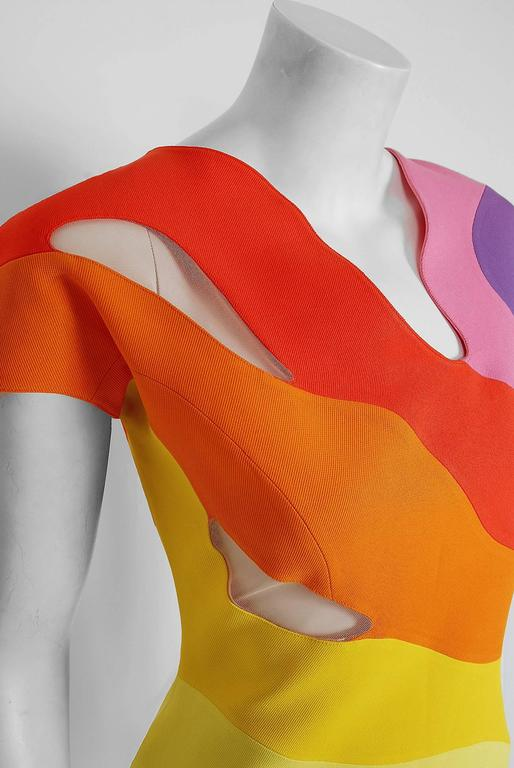 Women's 1990 Thierry Mugler Couture Documented Rainbow Bodycon Cut-Out Hourglass Dress For Sale