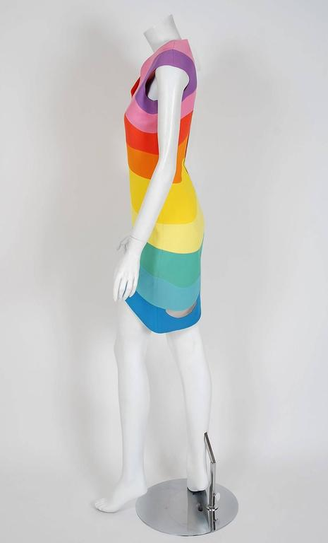 1990 Thierry Mugler Couture Documented Rainbow Bodycon Cut-Out Hourglass Dress For Sale 1