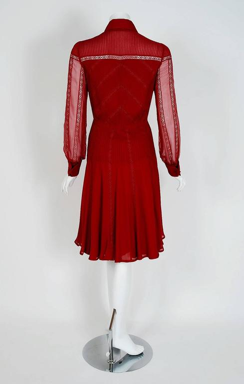 1970's Valentino Couture Burgundy-Red Silk Chiffon & Lace Pintuck Pleated Dress 4