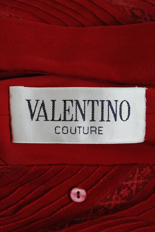 1970's Valentino Couture Burgundy-Red Silk Chiffon & Lace Pintuck Pleated Dress 6