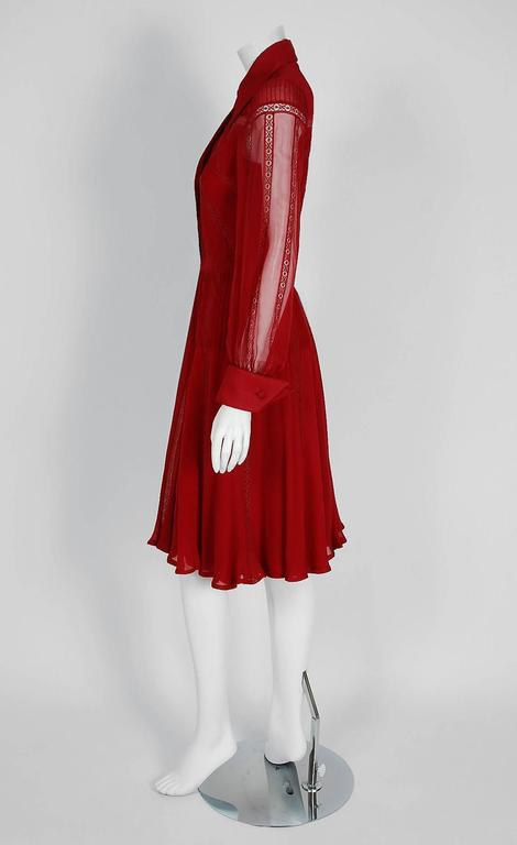 1970's Valentino Couture Burgundy-Red Silk Chiffon & Lace Pintuck Pleated Dress 2