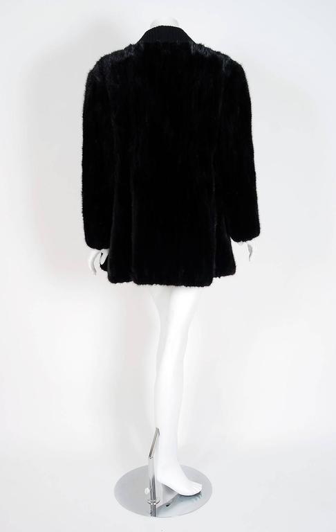1968 Pierre Cardin Black Mink-Fur & Knit Mod Cardigan Sweater Stroller Jacket For Sale 1