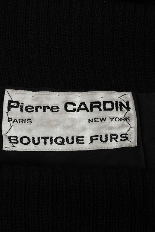 1968 Pierre Cardin Black Mink-Fur & Knit Mod Cardigan Sweater Stroller Jacket For Sale 2