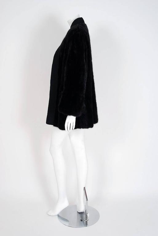 1968 Pierre Cardin Black Mink-Fur & Knit Mod Cardigan Sweater Stroller Jacket In Excellent Condition For Sale In Beverly Hills, CA