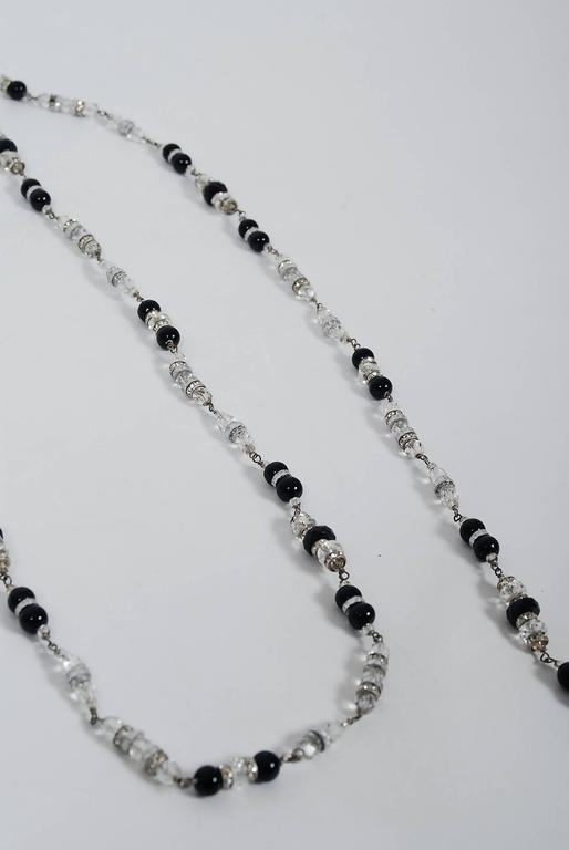 Vintage 1954 Chanel by Robert Goossens Crystal Long Sautoir Couture Necklace For Sale 2