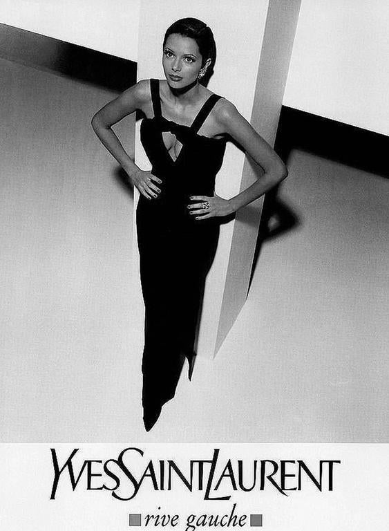 1994 Yves Saint Laurent Documented Red Silk & Black Velvet Cut-Out Plunge Gown 2