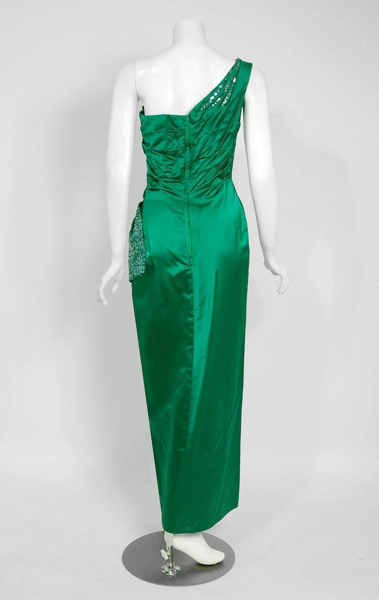 1950's Ceil Chapman Beaded Sequin Green Ruched Satin One-Shoulder Evening Gown 6